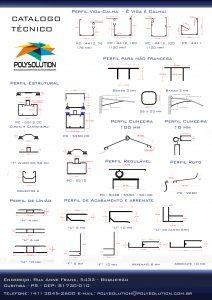 Linha de perfis de aluminio para policarbonato e vidro Polysolution