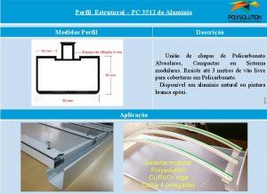 Linha de Perfis de Aluminio para Policarbonato - Perfil Estrutural PC5512 mm -Polysolution