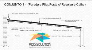 Modelo numero 1 de montagem do sistema modular com Perfil Viga-Calha PC4412 em corredor lateral em Policarbonato Polysolution