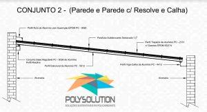 Modelo numero 2 de montagem do sistema modular com Perfil Viga-Calha PC4412 em corredor lateral em Policarbonato Polysolution