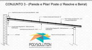 Modelo numero 3 de montagem do sistema modular com Perfil Viga-Calha PC4412 em corredor lateral em Policarbonato Polysolution