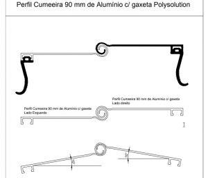 perfil cumeeira Ajustável e regulável engate rapido pc 9090 com gaxeta EPDM - lançamento Polysolution