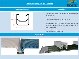 Linha de Perfis Polysolution - Perfil Conector U de Alumínio - Aplicação com Sistema Multipainel 6 x 600 x 6000 mm - Polysolution