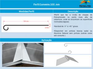 Perfil Cumeeira de Alumínio 100 mm- Polysolution