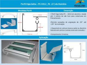 Perfil Viga-Calha PC 4412_76 Perfil com base de 76 mm e Aba Lateral maior de 90 mm -POLYSOLUTION - É Viga É Calha -