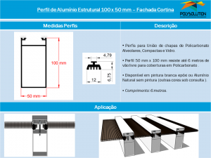 Perfil de Alumínio Estrutural 100 x 50 mm– Fachada Cortina - linha de Perfis Polysolution