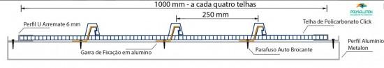 Detalhe click 4 telhas = 1 metro arremate aluminio 6 mm