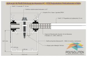 Perfil de aluminio Estrutural PC 5550 Policarbonato alveolar 10 mm bi-camera Polysolution