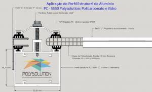 Projeto com Perfil de aluminio Estrutural PC 5550 para chapa de Policarbonato - Polysolution