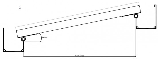 Sistema estrutura reta - Perfil de aluminio PC 5512 Plana e chapas de Policarbonato - perfil viga calha PC 4412