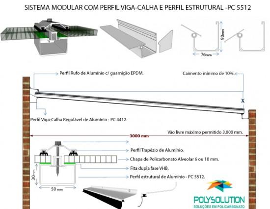 Sistema modular de instalação de Cobertura de Policarbonato com perfil viga-calha PC 4412 e Perfil Estrutural PC 5512 Polysolution