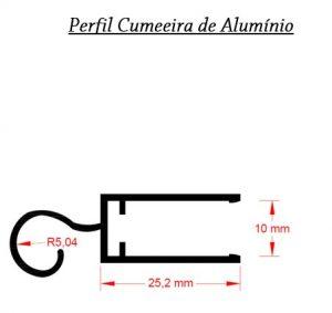 Perfil de aluminio Cumeeira para 10mm de espessura Polysolution
