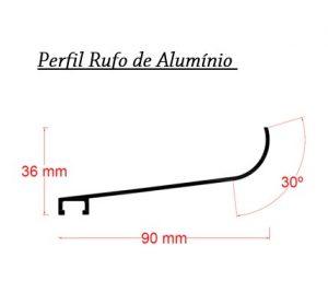 Perfil de Aluminio formato Rufo de 90 x 20 mm barra de 6 metros com gaxeta - Polysolution