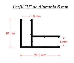Perfis de Aluminio U de canto - Box para Policarbonato - Polysolution