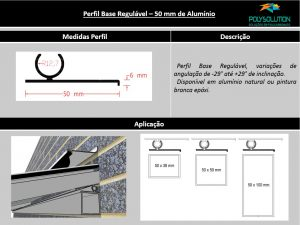 Perfis de Aluminio Base regulável 50 mm para Policarbonato - Polysolution