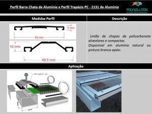Perfil de Aluminio formato trapézio ou capela com 50 mm de base -Polysolution