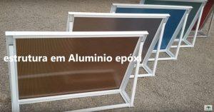 Toldo de Policarbonato Alveolar Reto com perfis de aluminio Banzo e Montante - Polysolution