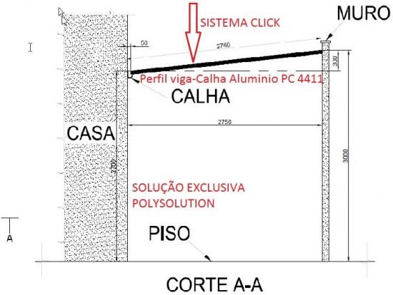 Perfil viga calha PC 4411 Perfil viga calha em Aluminio referencia PC 4411 barra de 6 metros autoportante até 5 metros de vão livre e Unindo os dois lados com Perfil Estrutural PC5512 em Arco- Patente Polysolution