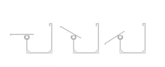 Perfil de aluminio viga-calha PC4412 regulável ajustável ao angulo de inclinação da cobertura de policarbonato ou vidro - Patente Polysolution