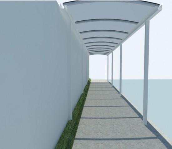 passarela em policarbonato curva com perfil estrutural PC 5512 comm postes 3 x 3 polegadas