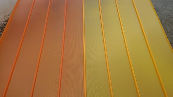 Telhas de Policarbonato click Laranja e Amarela
