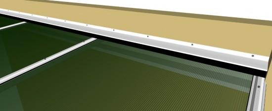 Sistema modular click Policarbonato polysolution Perfil Viga Calha PC 4412 com Perfil Estrutural PC 5512