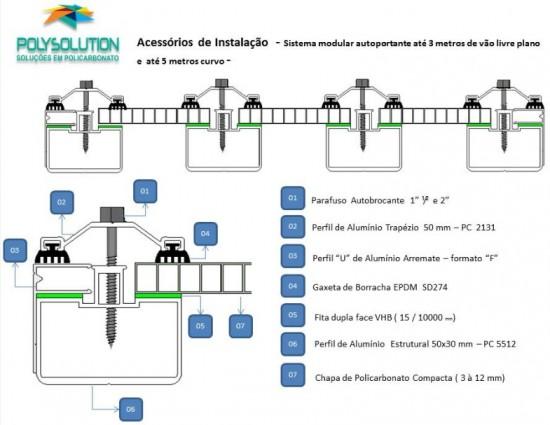 Sistema modular de instalação cobertura de Policarbonato com Perfil Viga calha e Perfil estrutural - faça voce mesmo, monte facil, rapido e economico alveolar 10 mm
