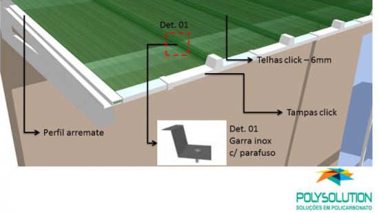 nomenclatura das telhas e acessórios do sistema click de instalação