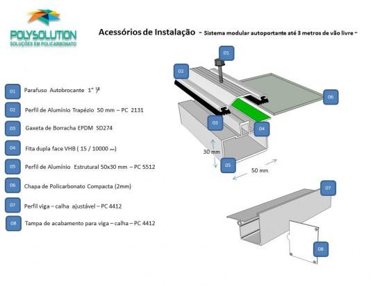 Sistema modular com chapas de Policarbonato compacto e perfis de aluminio Polysolution