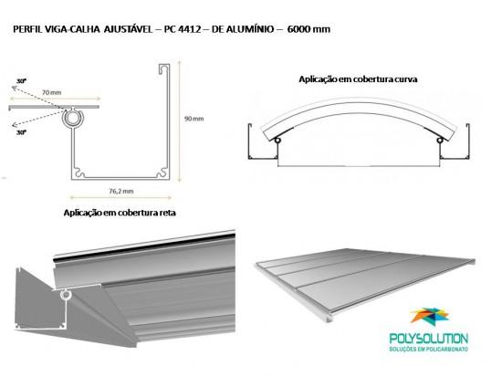 Rufo de aluminio 90 x 20 mm e Calha PC 4412 em Aluminio barras de 6 metros para coberturas translucidas em Policarbonato e vidro