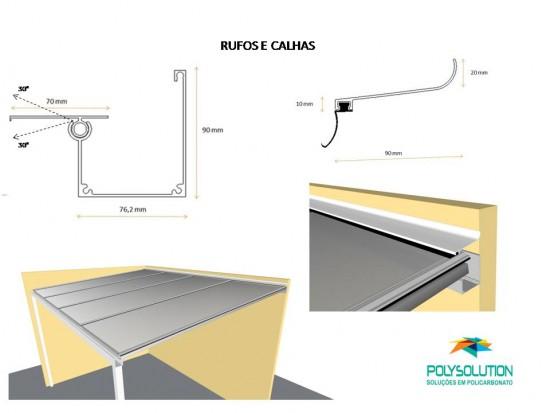Rufos e Calhas em Aluminio barras de 6 metros para coberturas translucidas em Policarbonato e vidro