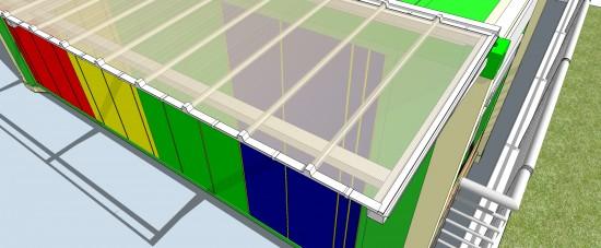 Toldo em Policarbonato telha click cor cristal em container de sustentabildiade Polysolution