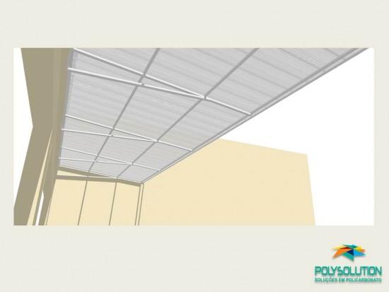 Toldo Comercial - 2,5 m -Detalhes tecnicos do Projeto - Toldo de Policarbonato em comercio com as Telhas de Policarbonato CLICK cor cristal 15 x 3 metros