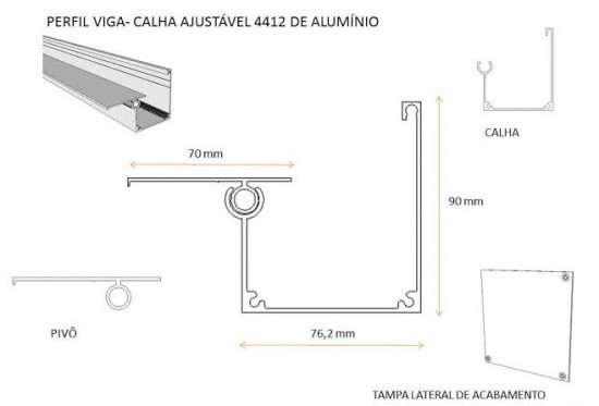 Perfil viga calha PC 4412 em aluminio - barras de 6 metros - é viga , é calha - medida base 76,2 mm