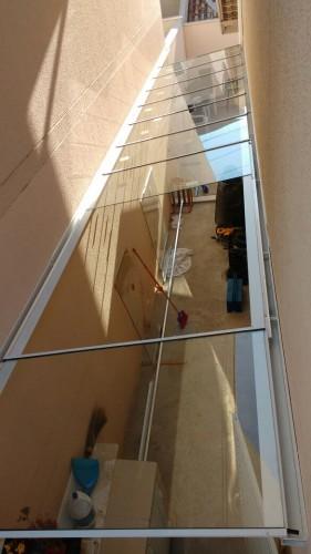 Telhado de Vidro Plano com Perfil de aluminio viga-calha PC4412 regulável ajustável