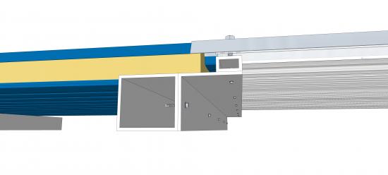 Termopainel Telha Sanduiche de Policarbonato termoacustica Translucida com 30mm espessura e encaixe trapezoidal - Polysolution