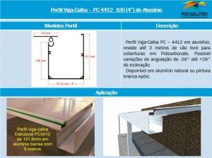 Perfil Estrutural Viga-Calha PC4412_100 de aluminio - 4 polegadas -101,6 mm - Polysolution