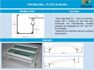 Perfil Estrutural Viga-Calha PC4412_76 de aluminio - 3 poelgadas -76,2 mm - Polysolution