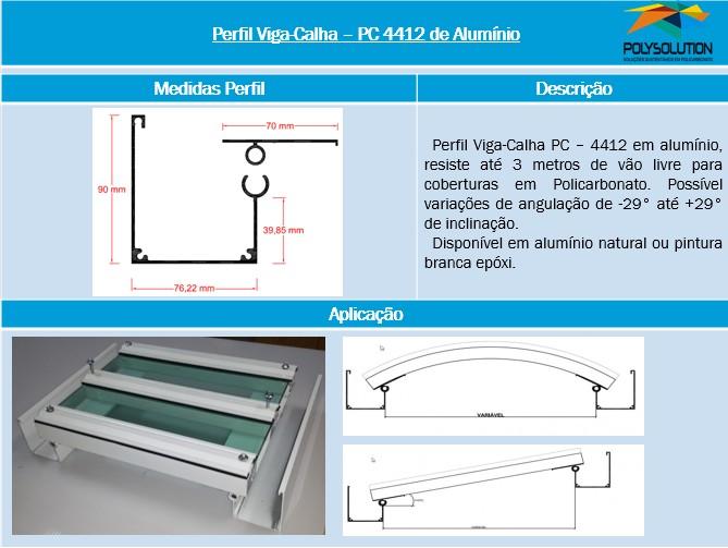 Perfil Estrutural Viga-Calha PC4412_76 de aluminio - 3 polegadas -76,2 mm - Polysolution