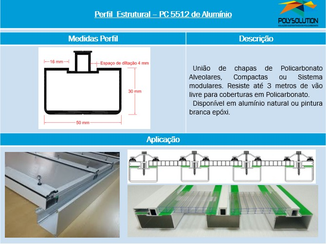 Perfil de aluminio estrutural PC5512 - Polysolution