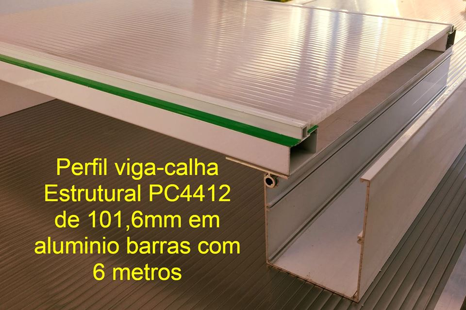 Perfil de aluminio Estrutural viga-calha PC 4412_100 com 101,6mm - Polysolution