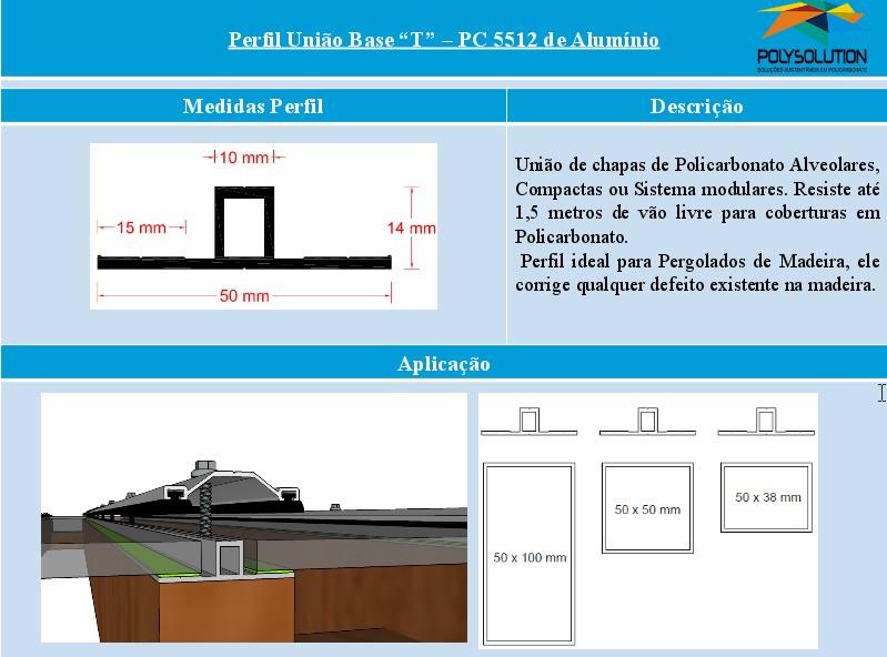 Linha de perfis para Instalação Policarbonato -Perfil BAse T 5512 -Polysolution