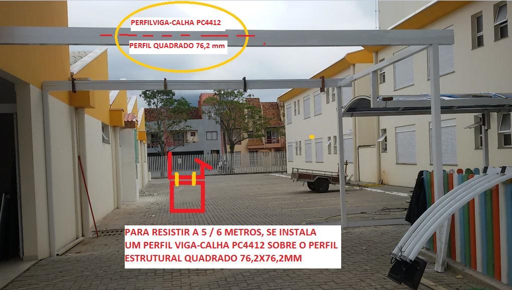 Sistema modular de instalação de cobertura de Policarbonato com Perfil de aluminio estrutural Viga-Calha PC4412 e Perfil PC 5512