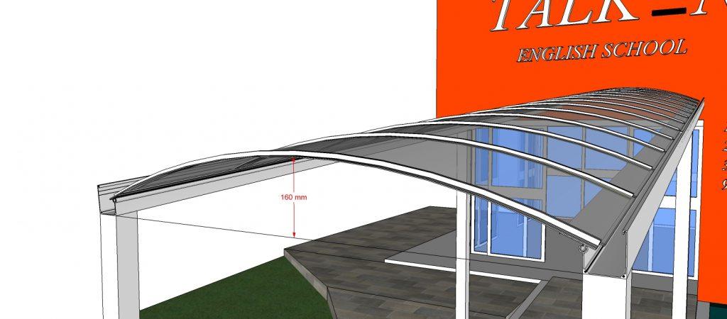 cobertura - toldo de Policarbonato compacto com 6 metros + VIGA-CALHA + Perfil T Polysolution