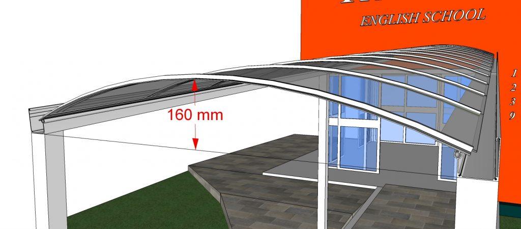 cobertura toldo de Policarbonato compacto cristal com 6 metros + Perfil de aluminio Estrutural VIGA-CALHA PCc 4412 + Perfil de alumínio T aqui na Polysolution