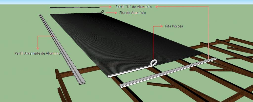 aplicação do perfil de ALUMINIO em formato de uma REGUA T, com o objetivo de alinhar a madeira roliça, torta, as vezes empenada, e dessa forma receber a chapa de policarbonato ou vidro