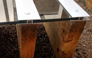 Cobertura de Pergolado de madeira com perfil de aluminio Estrutural H e Perfil F Polysolution