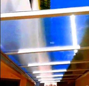 Cobertura de Policarbonato 6000x2000mm alveolar cristal 10 mm com Viga calha - Polysolution