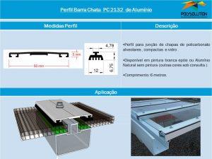 Linha de perfis para Instalação Policarbonato - Perfil Barra chata -Polysolution