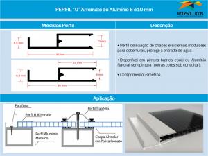 Linha de perfis para Instalação Policarbonato -Perfil U Arremate Cadeirinha 6 e 10 mm -Polysolution